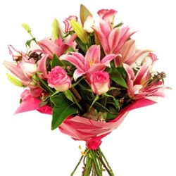 Pink lillies roses bouquet - $60
