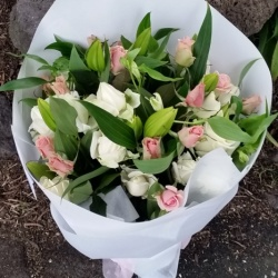 Bouquet of White and Pink flowers from Sumner Florist Christchurch