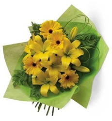 yellow gerberas and lillies -$55
